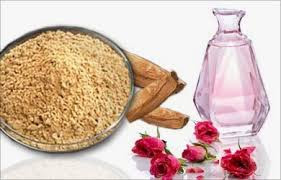 Sandalwood Powder and Rose water for pimples removal