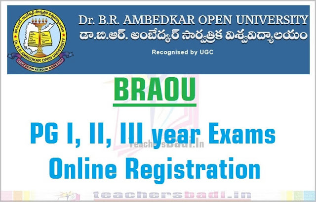 BRAOU,PG Exams,Online Registration 2016 notification