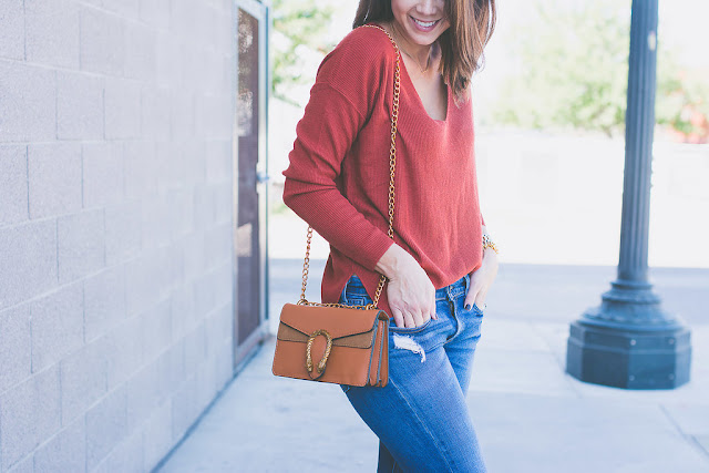 Shein cross body bag for Fall. Burnt orange v neck sweater for Fall