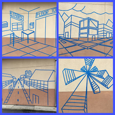 expressions curriculum 7th grade perspective tape murals are installed. Black Bedroom Furniture Sets. Home Design Ideas