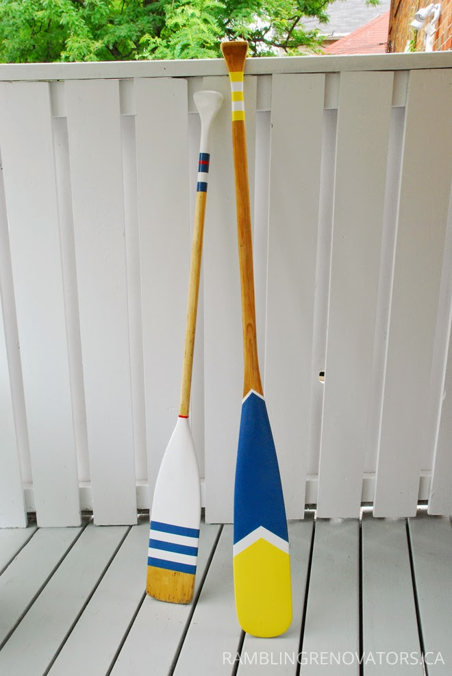 Rambling Renovators | diy nautical oars striped