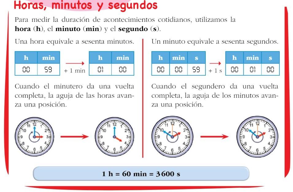 4º Primaria Matemáticas: HORAS MINUTOS Y SEGUNDOS