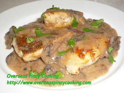 Fried Fish Fillet with Mushroom Sauce Dish