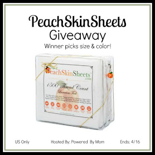 Enter the Powered by Mom's PeachSkinSheets Giveaway. Ends 4/16