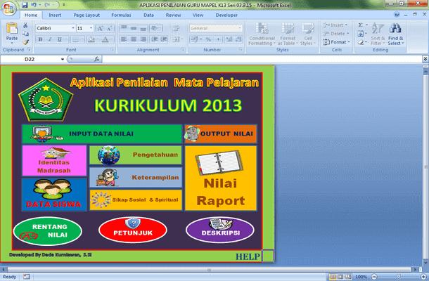 Aplikasi Penilaian Mata Pelajaran Kurikulum 2013 Guru Madrasah