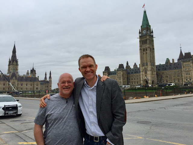 Gabe with Pierre after visiting the Peace Tower Carillon