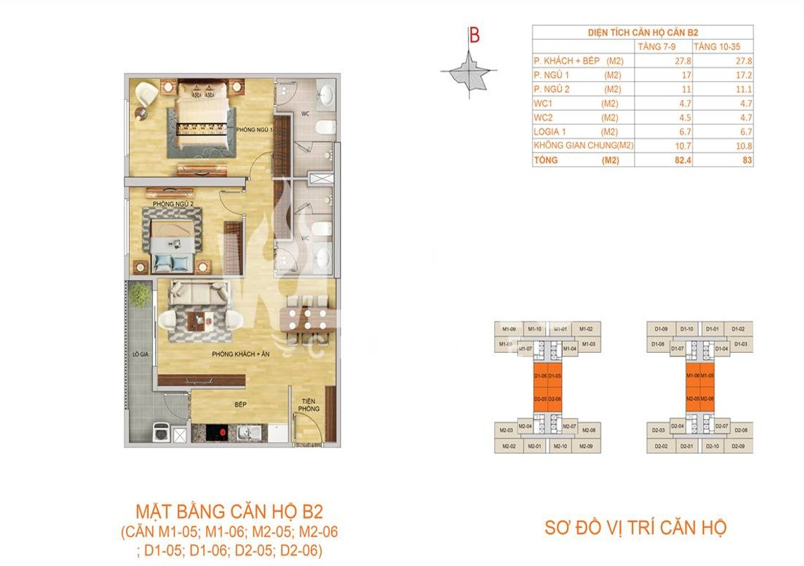 Mặt bằng căn hộ B2 - 83m2