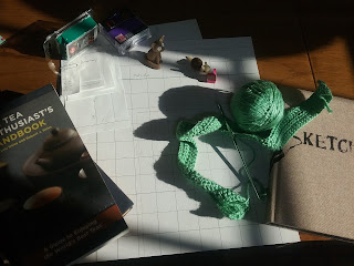 [Image Description] A collection of hobby materials sitting together on a desk in the sunlight.