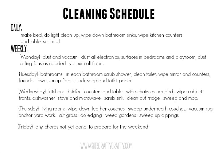why you should have a cleaning schedule, weekly cleaning schedule