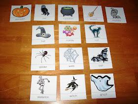 Halloween nomenclature cards