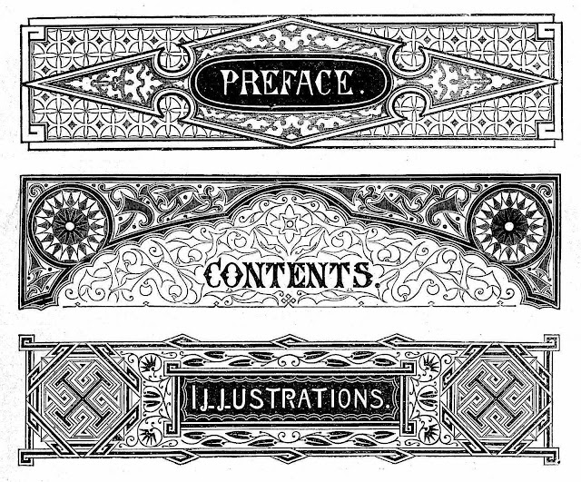 Dalziel Brothers book graphics for preface, contents and illustrations pages