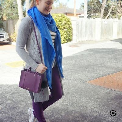 awayfromtheblue instagram purple skinny jeans maxi cardigan blue louis vuitton shawl
