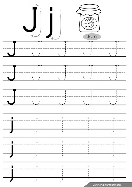 Printable letter j tracing worksheet