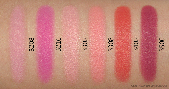 Make Up For Ever Artist Face Color Blush Swatches B208 B216 B302 B308 B402 B500