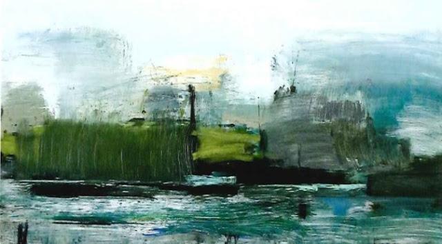 """PRIMER PREMIO (XVI Premio de Pintura Universidad de Murcia) Lourdes Castro Cerón - """"Atmósfera del amanecer en el río Tvojiang I"""""""