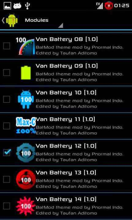 Tampilan ICON Van Battery di Modules Xposed Installer 2