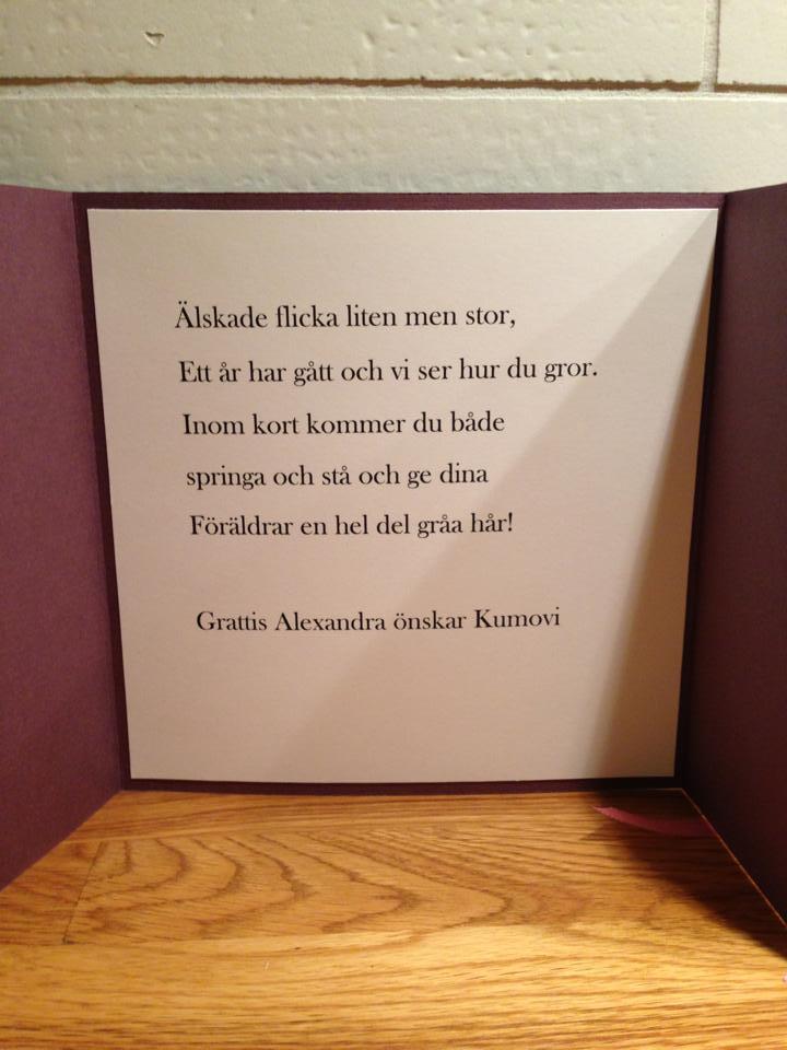födelsedagskort text Sanjas Kort och Pärl makeri: 1 ÅRS Födelsedagskort! födelsedagskort text