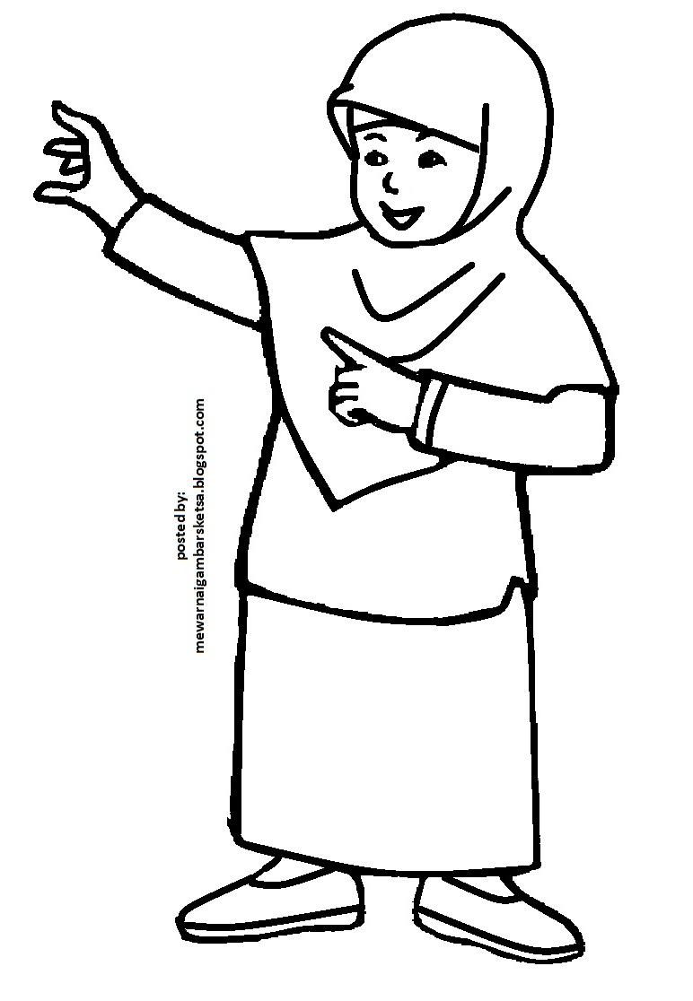 Mewarnai Gambar Mewarnai Gambar Sketsa Kartun Anak Muslimah 37