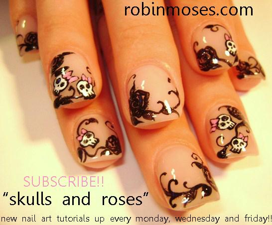 Nail Art By Robin Moses Mm Nails Retro Skulls Pink And Black Rose
