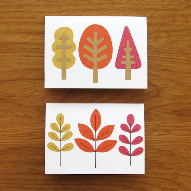 autumn leaf and tree cards