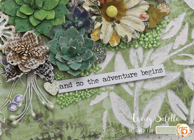 """The Adventure Begins"" Mixed Media Mother's Day Card by Tracey Sabella for Studio75: #traceysabella #studio75 #scrapiniec #littlebirdiecrafts #acmoore #littlebirdiecraftsflowers #artistico #agateria #prills #finnabair #helmar #The Crafter's Workshop #timholtz #rangerink #stampendous #mixedmedia #shabbychic #mixedmediaart #mixedmediacard #mixedmediacards #shabbychiccard #shabbychiccards #diycard #diycards #handcraftedcard #handcraftedcards #diycrafts  #handmadecard #handmadecards #mothersday #mothersdaycard #mothersdaycards"