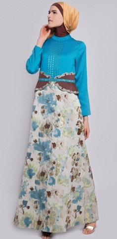 Model Long Dress Batik Kombinasi Polos simpel