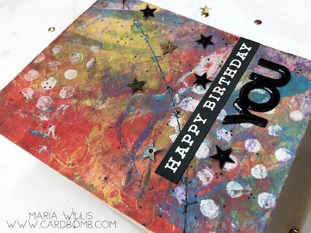 #cardbomb #mariawillis #papercraft #rangerink #papercrafting #color #cards #stamp #ink #paper #cardmaking #handmade #craft #create #diy #art #dinawakleymedia #rangerink  #gelpress #gelprinting #sssmondaychallenge #simonsaystamp,