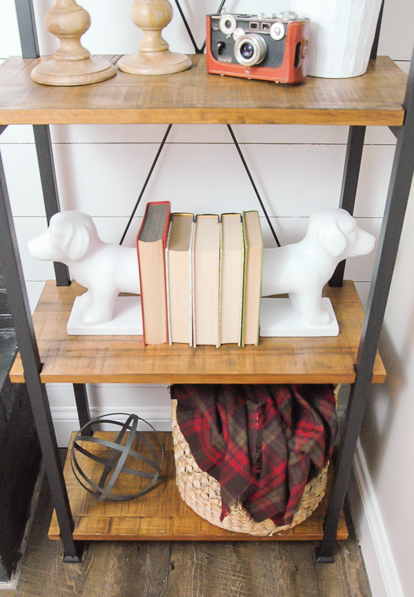 Styled mixed material shelf, industrial farmhouse