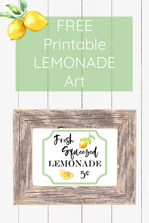 Fresh squeezed lemonade sign! Free printable lemon art for spring or summer decor. Get more free wall art downloads in my resource library!