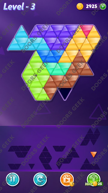 Block! Triangle Puzzle 9 Mania Level 3 Solution, Cheats, Walkthrough for Android, iPhone, iPad and iPod