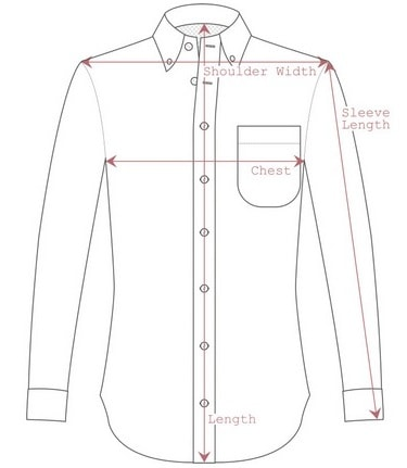 Measurement guideline for a dress shirt