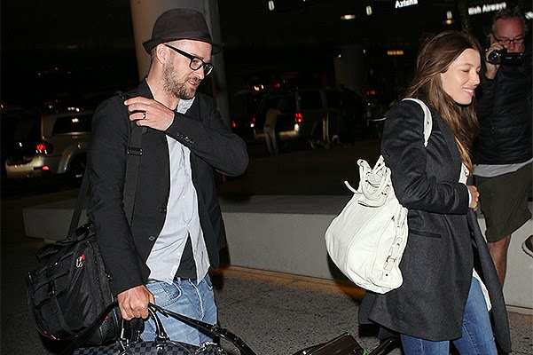 Jessica Biel and Justin Timberlake arrive in London