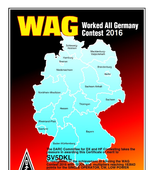 Worked All Germany 2016 Contest Certificate