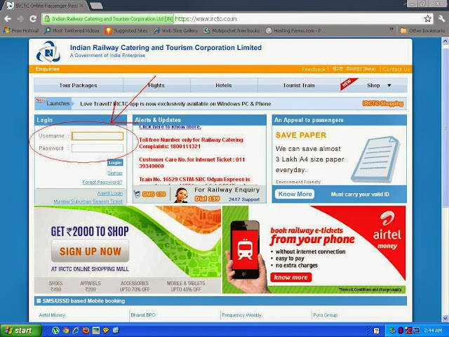 irctc.co.in irctc login page