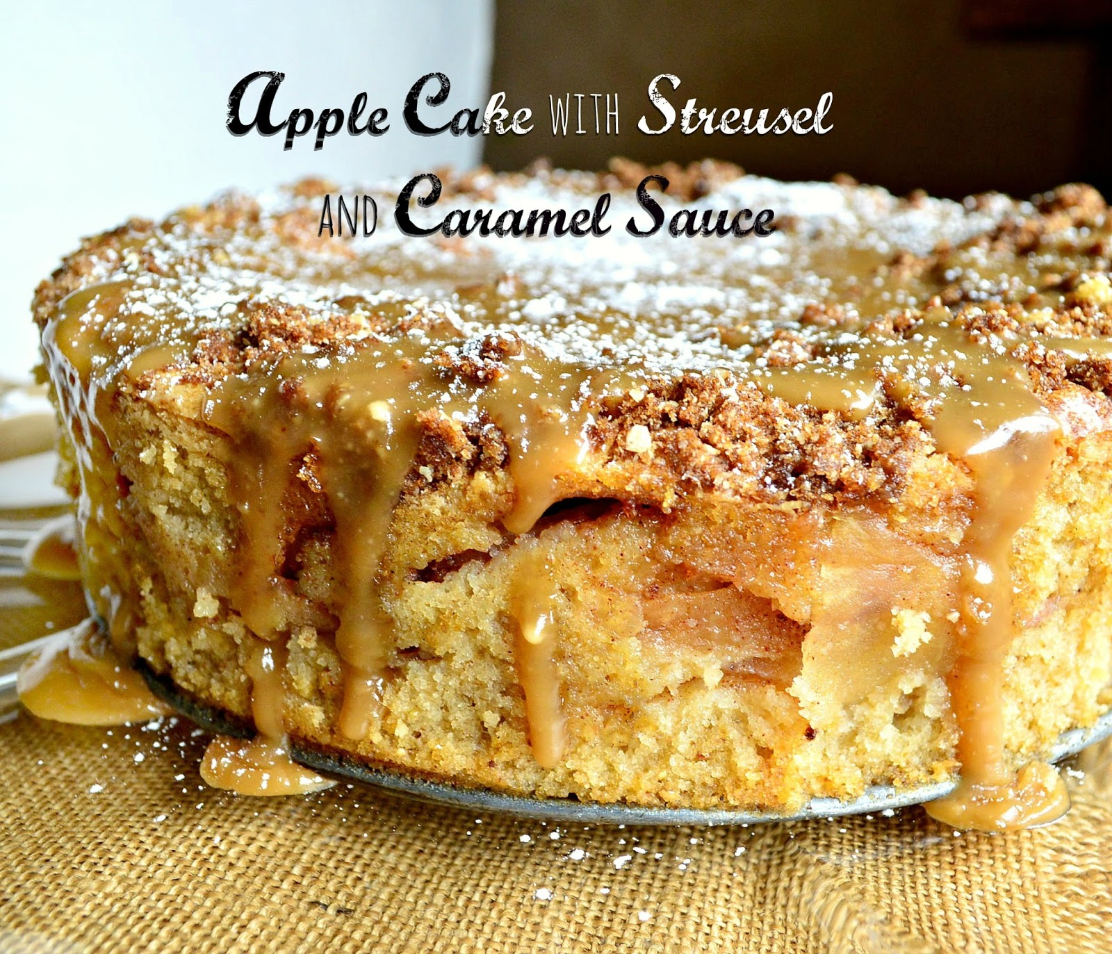 Passover apple cake with streusel and caramel sauce
