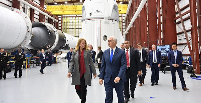 Vice President Mike Pence visited NASA facilities and got to tour SpaceX's Dragon 2 Capsule in Cape Canaveral, Fla., Dec. 18, 2018.