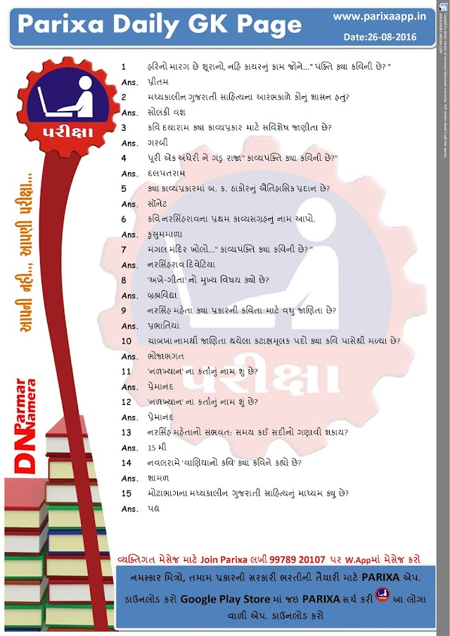 Parixa Daily GK Page Date: 26/08/2016