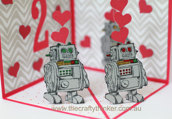 SU, Corner pop up card, fun fold, Boys will be boys, Robot card