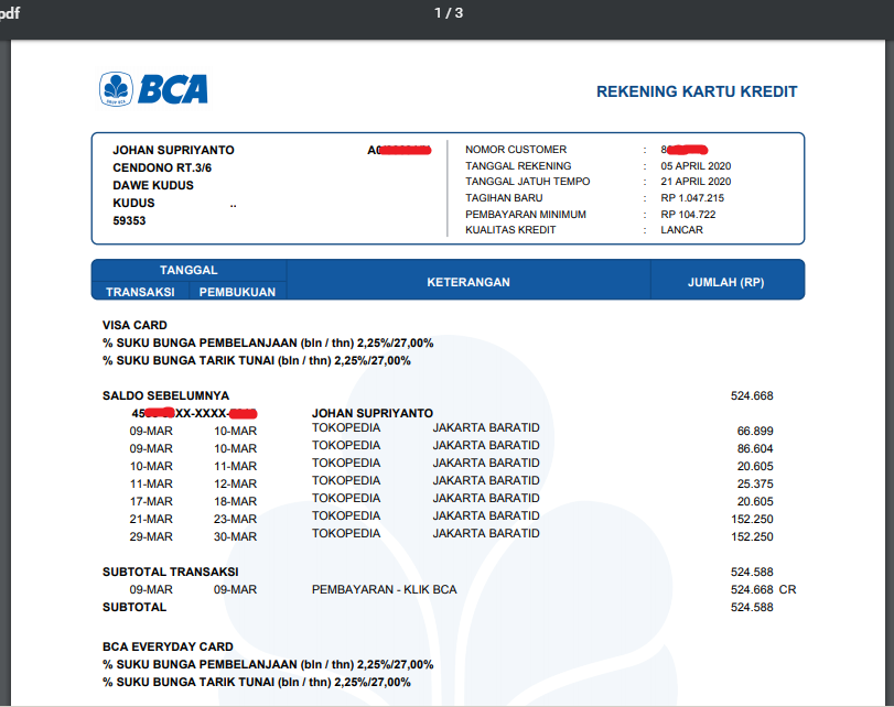 Cek Tagihan Kartu Kredit BCA e Statement