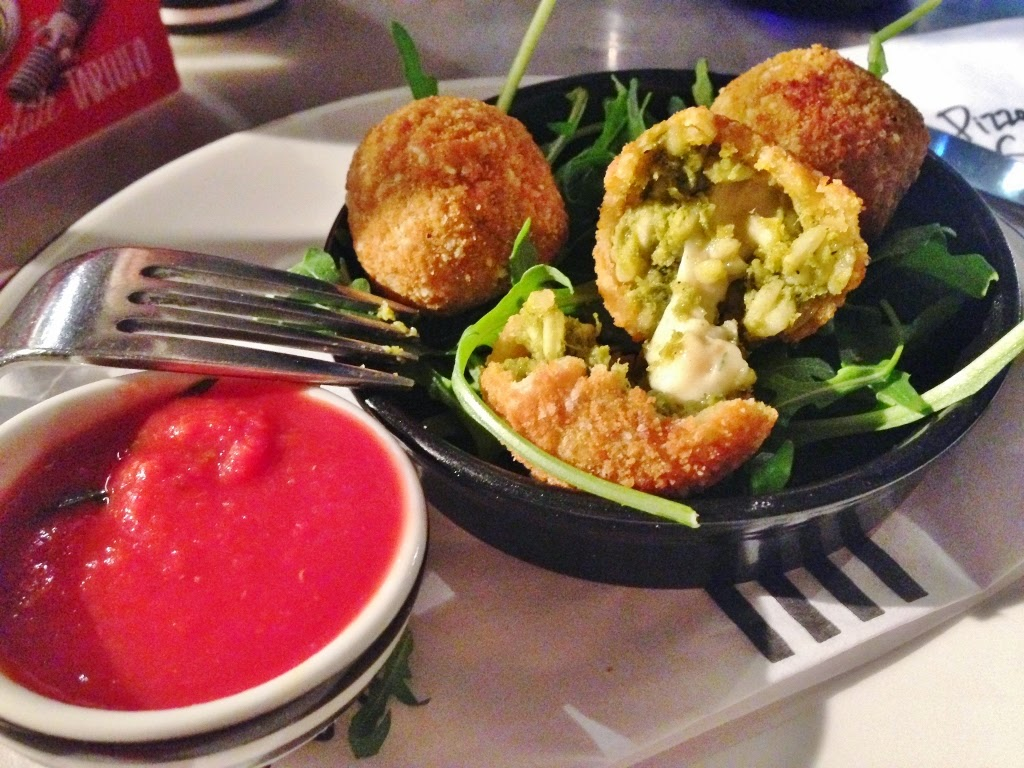 spinach and provola cheese arancini balls