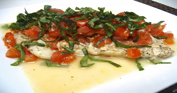 Poached Cream Dory With Tomato-Basil Recipe