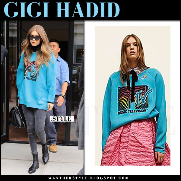 Gigi Hadid in bright blue oversized MTV print sweatshirt marc jacobs what she wore model style