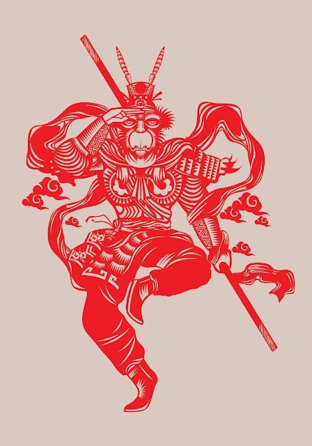 Monkey King - chinese paper cutting