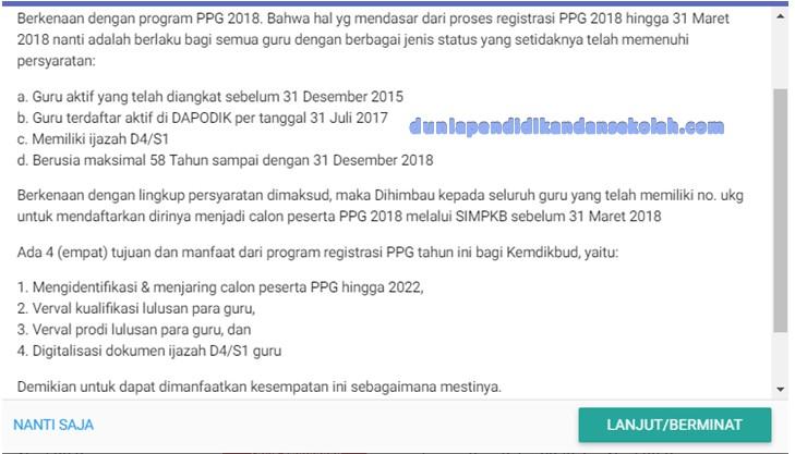 Pendaftaran PPG/ PPGJ Tahun 2018 Bagi Pendaftar baru dan Bagi Penerima Sertifikasi