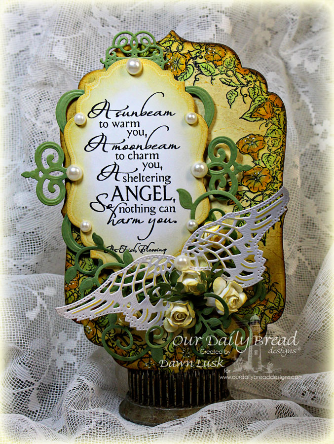 Stamps - Our Daily Bread Designs Sheltering Angel, Glory, ODBD Custom Angel Wings Die, ODBD Custom Fancy Foliage Die, ODBD Custom Vintage Labels Die, ODBD Custom Vintage Pattern Labels Die