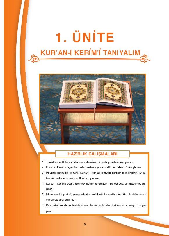 6. Sınıf Kuranı Kerim Ders Kitabı Cevapları Dikey Yayınları Sayfa 9