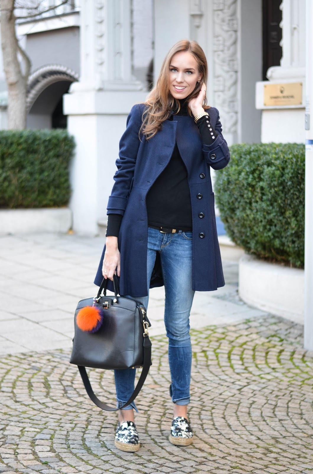 kristjaana mere asos blue wool coat causal chic winter outfit