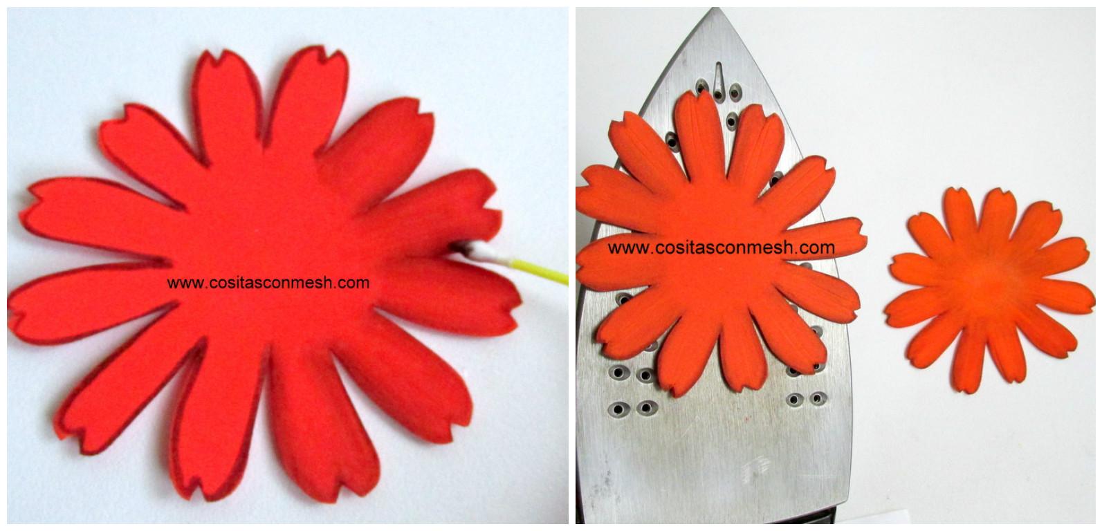 C mo hacer flores en goma eva paso a paso cositasconmesh - Pinturas para goma eva ...