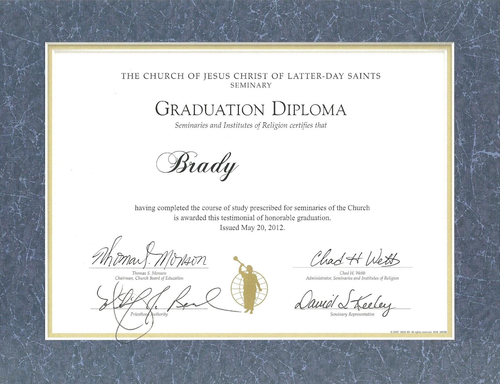 Happy Clean Living: Seminary Graduation