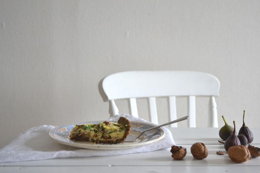 recette tarte sans gluten figue noix lardon epinard